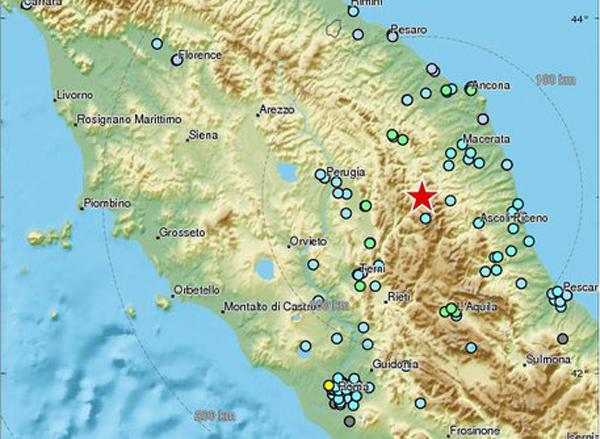 Terremoto, nuova scossa magnitudo 5.9 tra Perugia e Macerata