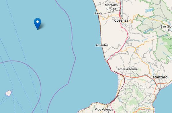 Terremoto di magnitudo 3.7 al largo di Cosenza